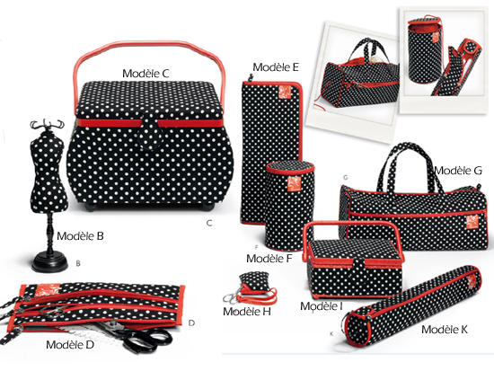 Coffrets paniers collection polka noir coutureo for Rangement accessoires couture