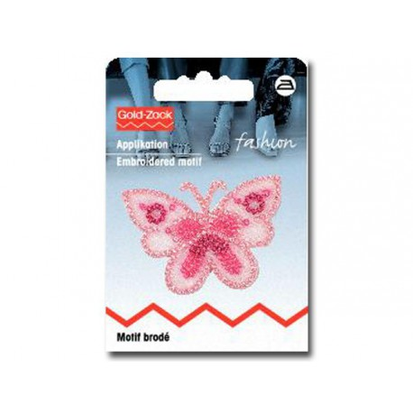 Ecusson papillon brillant rose