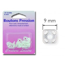 Pressions boutons nylon blanc carrées 9 mm