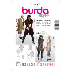Patron BURDA 2459 T 46 à 58 : déguisement  Pirate, Casanova