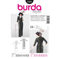 Patron BURDA 7029 T 36 à 50 : Robe Belle Epoque