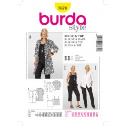 Patron BURDA 7670 T 44 à 60 : Chemisier & top
