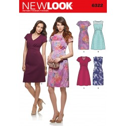 Patron NEW LOOK 6322 T 36 à 46 : Robe