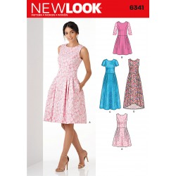 Patron NEW LOOK 6341 T 34 à 46 : Robe