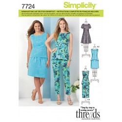 Patron SIMPLICITY 7724.AA T 38 à 46 : Ensemble tunique, pantalon, jupe, robe