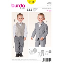 Patron BURDA 9443 T 92 à 128 cm : Burda kids : Ensemble costume