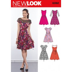 Patron NEW LOOK 6392 T 38 à 50 : Robe