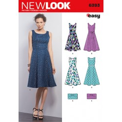 Patron NEW LOOK 6393 T 36 à 46 : Robe