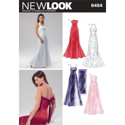 Patron NEW LOOK 6454 T 36 à  46 : Robe