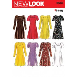 Patron NEW LOOK 6567 T 38 à 50 : Robe