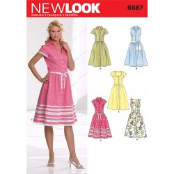 Patron NEW LOOK 6587 T 36 à 46 : Robe