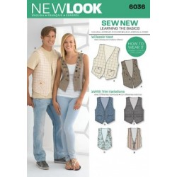Patron NEW LOOK 6036 T 34 à 44 : Gilet
