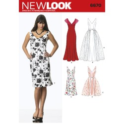 Patron NEW LOOK 6670 T 36 à 46 : Robe