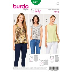 Patron BURDA 6501 T 34 à 46 : Top
