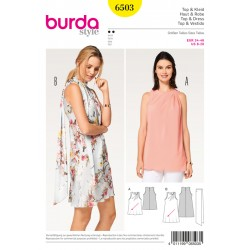 Patron BURDA 6503 T 34 à 46 : Top–robe