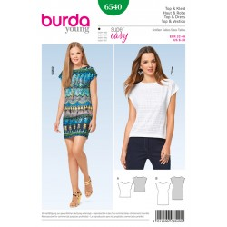 Patron BURDA 6540 T 32 à 46 : Top–robe–sans manches