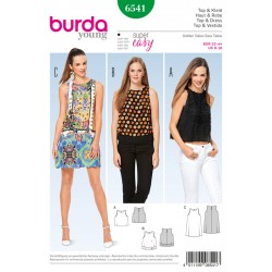 Patron BURDA 6541 T 32 à 44 : Top–robe
