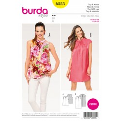 Patron BURDA 6555 T 17 à 23 : Top–robe