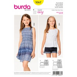 Patron BURDA 9367 T 116 à 158 : Top–robe