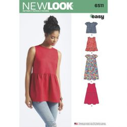 Patron NEW LOOK NL6511 T 34 – 46 : Blouse/ Tunique / T-shirt