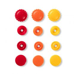 Pressions Snaps Prym 13,6 mm multi orange, soleils et ronds, 21 pcs