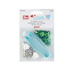 Boutons pression PRYM LOVE Jersey laiton 8 mm multi vert