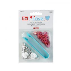 Boutons pression PRYM LOVE Jersey laiton 8 mm multi rose
