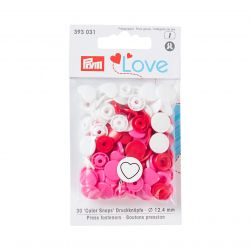 Pressions Snaps Prym 12,4 mm multi rose, cœurs et ronds, 30 pcs