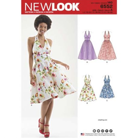 Patron New Look 6552 Robe  - Taille : 38 à 50