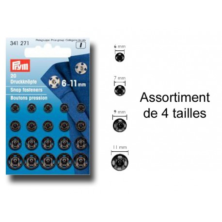 Pressions boutons noirs en tailles assorties 6-11 mm