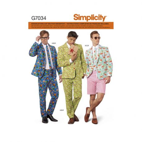 Patron Simplicity 7034.AA  Costume homme - Taille : 44 à 52