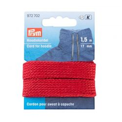 Cordon pour vêtements rouge sweat 17 mm  15 m
