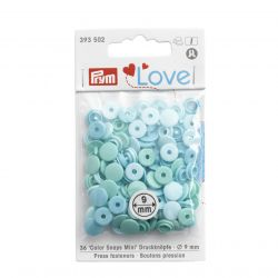 Pressions Color Snaps Mini Prym 9 mm Multi turquoise, 36 pcs