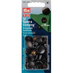 Boutons press. Sport & Camping rech. sans outil 15mm bruni