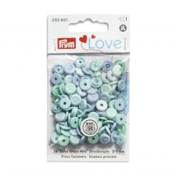 Pressions Color Snaps Mini Prym 9 mm, imitation bouton, Multi bleu, 36 pcs