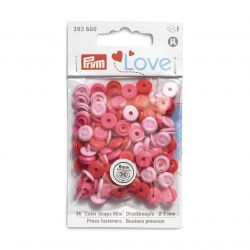 Pressions Color Snaps Mini Prym 9 mm, imitation bouton, Multi rose, 36 pcs