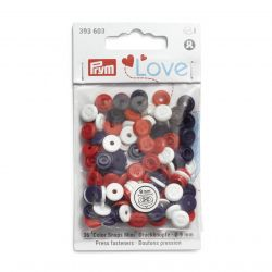 Pressions Color Snaps Mini Prym 9 mm, imitation bouton, Bleu, Rouge, Blanc, 36 pcs